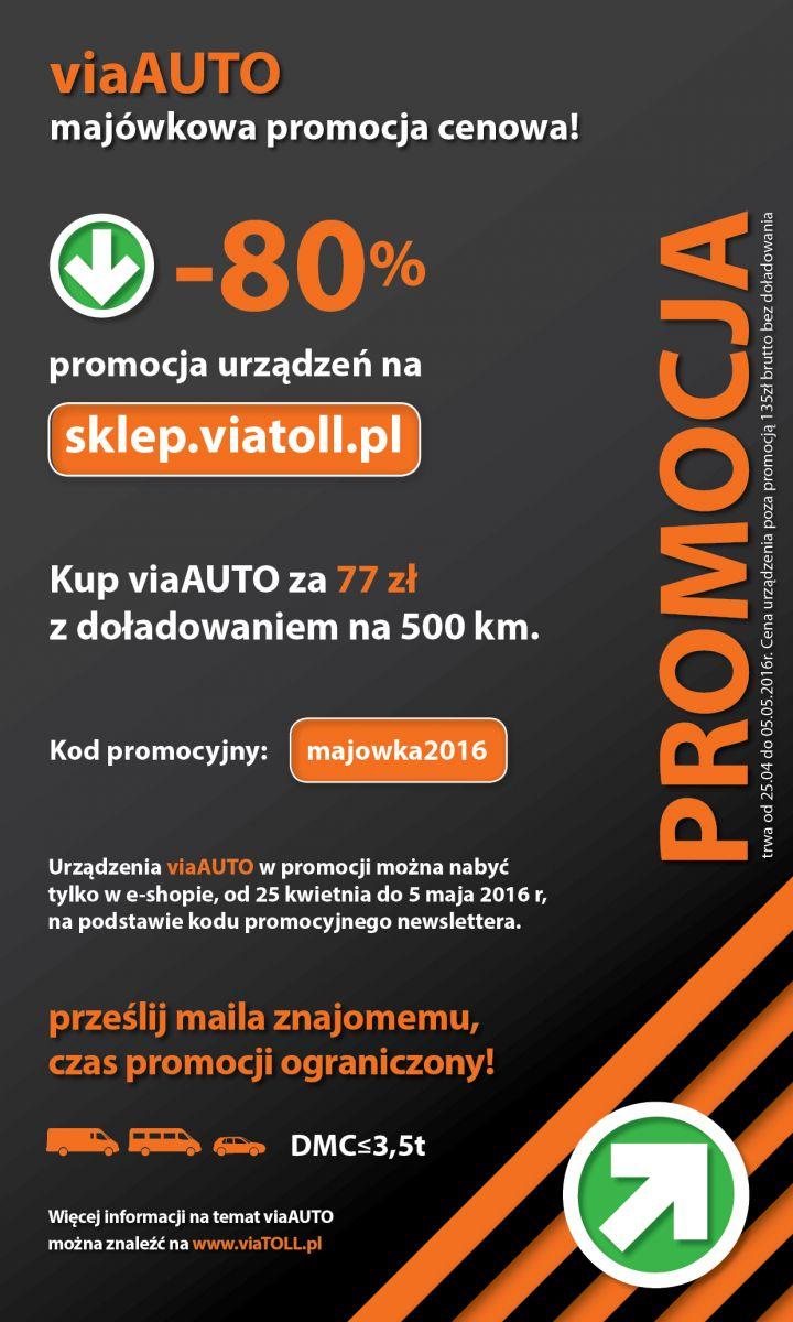 viaAUTO za 77zł z doładowaniem 50zł na przejazdy autostradą (-80%) @ viaTOLL
