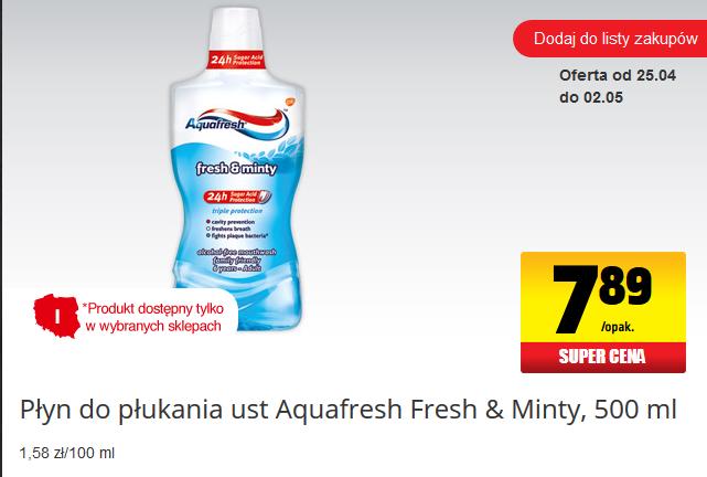 Płyn do płukania ust Aquafresh (500ml) za 7,89zł @ Biedronka