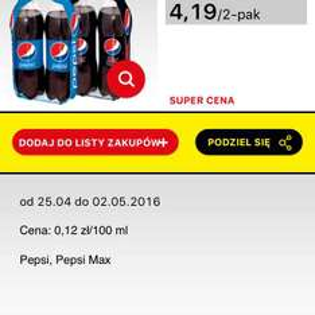 2x Pepsi lub Pepsi Max 1,75L. za 4,19 w biedronce