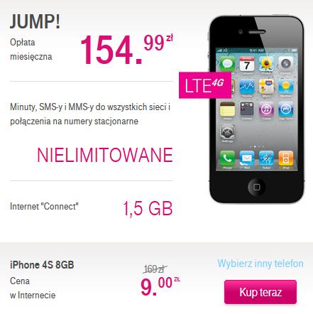 IPHONE 4S za 9 ZŁ W ABONAMENCIE BEZ LIMITU 149,99zł @ T-Mobile