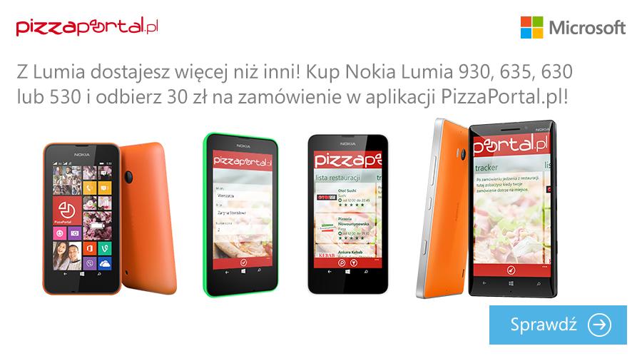 30 zł RABATU na zamówienie dla posiadaczy Nokia Lumia @ PizzaPortal.pl
