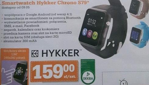Smartwatch Hykker Chrono S79 za 159zł (złącze kart SIM, aparat, złącze na kartę microSD, BT) @ Biedronka