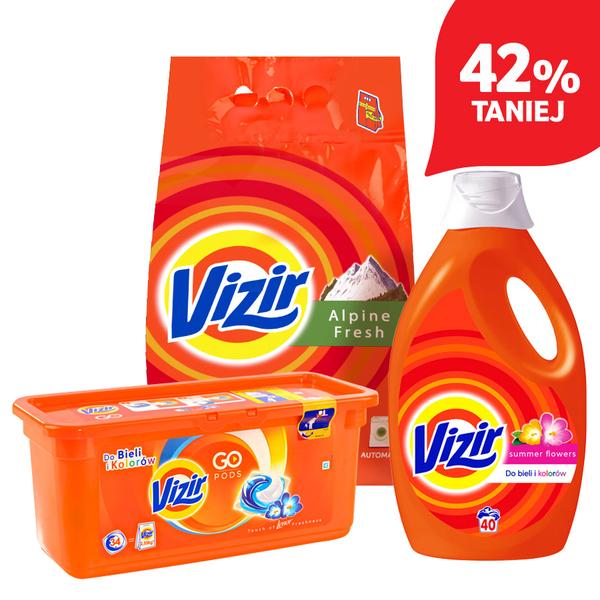 Proszek Vizir 4,5kg za 29,99zł (6,60zł/kg) oraz kapsułki i żel do prania za 22,99zł @ Tesco
