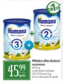 2 opakowania 800g mleka modyfikowanego Humana dla dzieci (różne rodzaje) za 46,99zł @ Carrefour