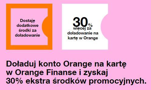 30% więcej przy doładowaniu Orange na kartę