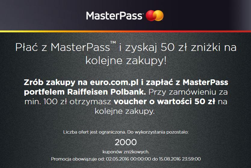 Bon na 50zł (Euro) lub 30zł (OleOle) przy zakupach za minimum 100zł i płatność za pomocą Raiffeisen MasterPass