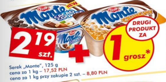 Serek Monte 125g za 1,1zł (promocja 1+1 za grosz) @ Auchan