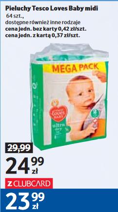 Pieluchy Tesco Loves Baby za 24,99zł (z kartą 23,99zł) @ Tesco