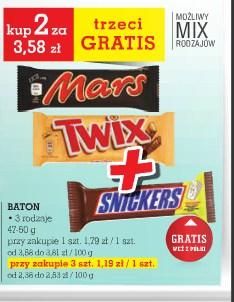 Mars, Snickers, Twix. Trzeci Gratis. @ Intermarche