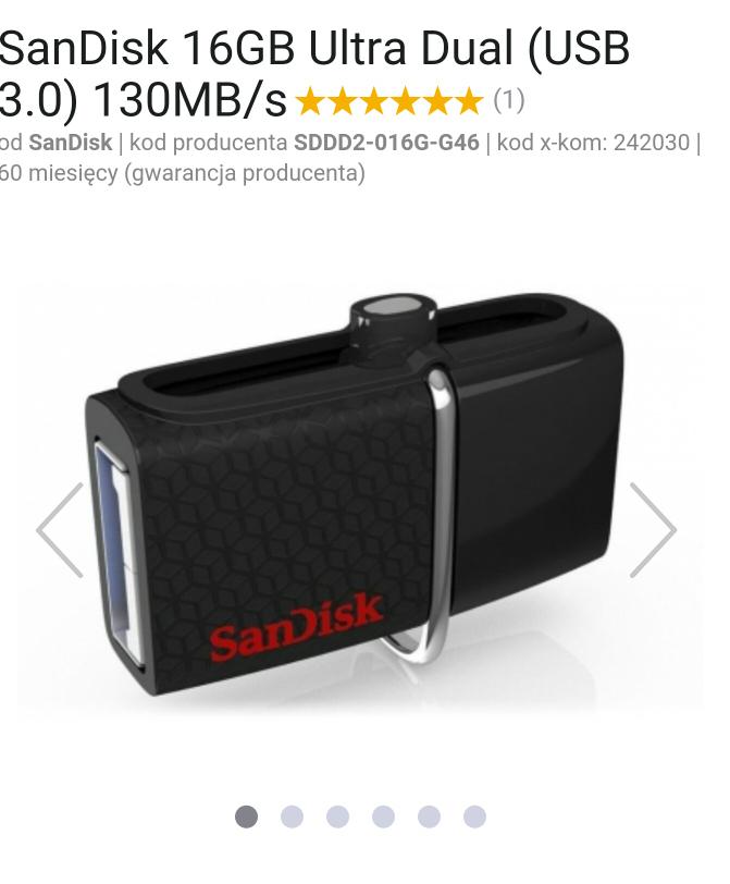 SanDisk 16GB Ultra Dual (USB 3.0) 130MB/s Gorący strzał @ x-kom
