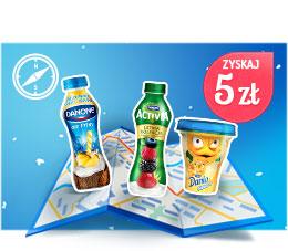 Cashback 5 zł za zakup jogurtów za 10 zł @ DanOn