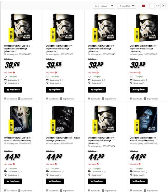 Gwiezdne Wojny II-VI (Steelbooki) na Blu-Ray za 39,90-49,90zł @ Media Markt
