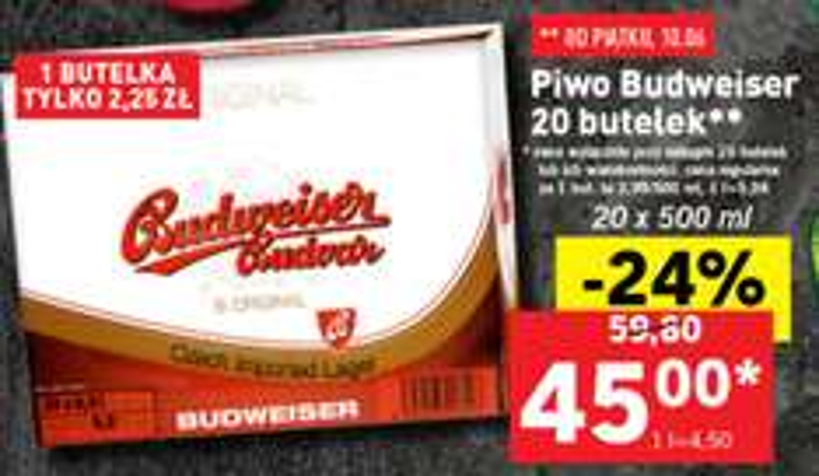 20 butelek piwa Budweiser za 45zł (obniżka z 59,80zł) @ Lidl