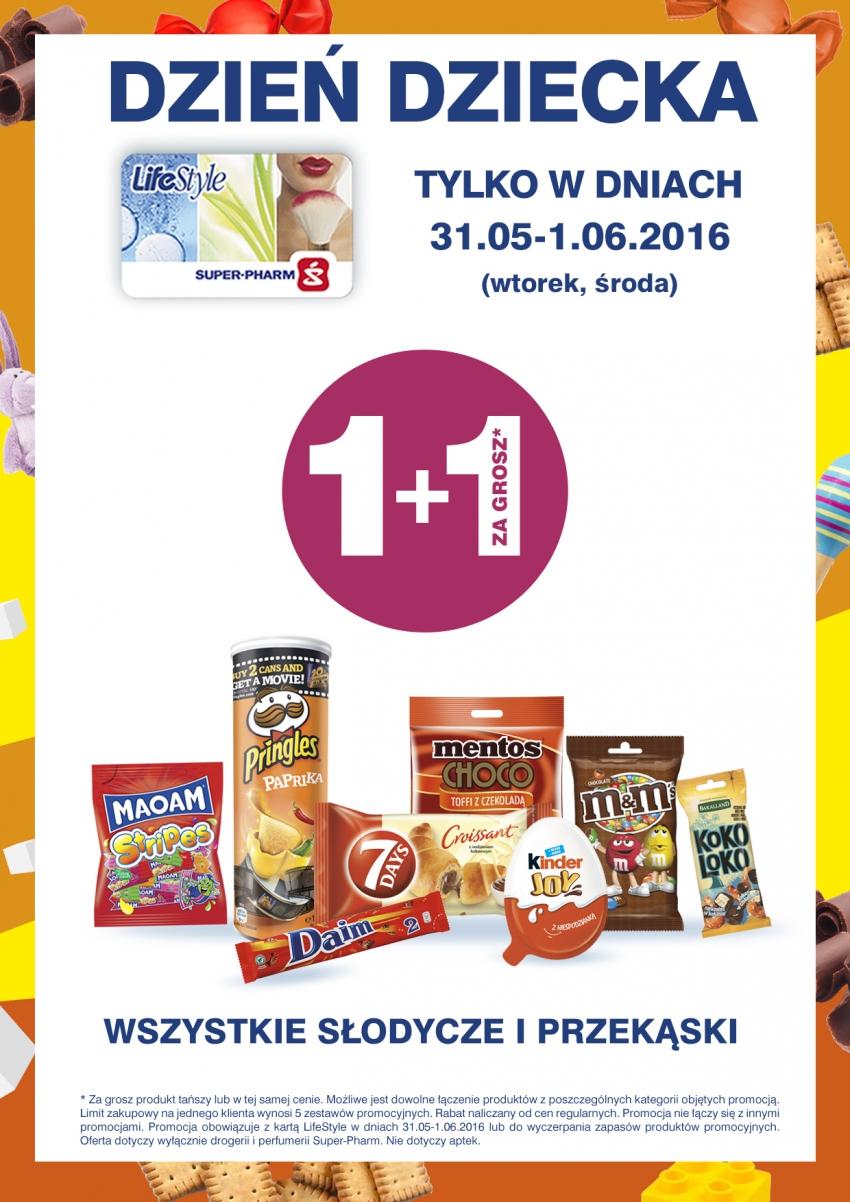 Super-Pharm 1+1 ZA GROSZ:* wszystkie słodycze i przekąski Tylko w dniach 31.05-1.06.2016