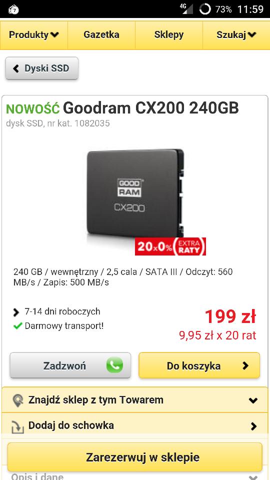 SSD Goodram CX200 model 240gb (możliwe 160zł!)