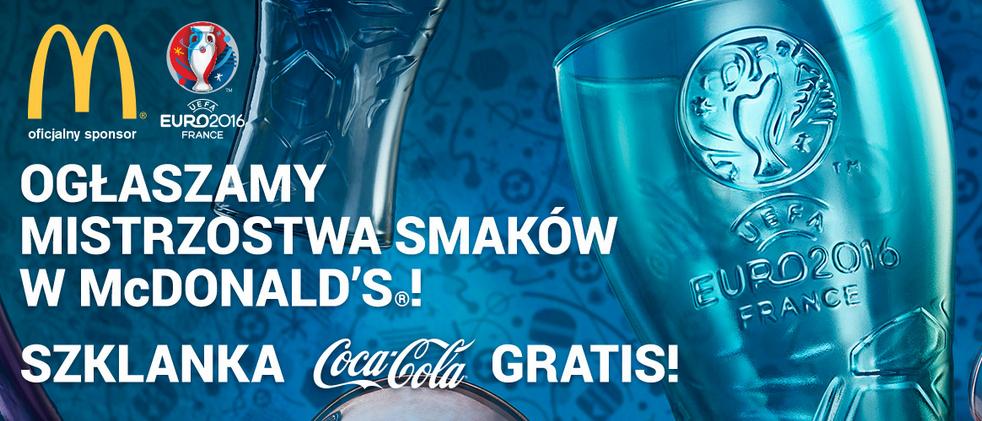 Szklanka Coca-Cola gratis przy zakupie jednego z trzech dań @ McDonald's
