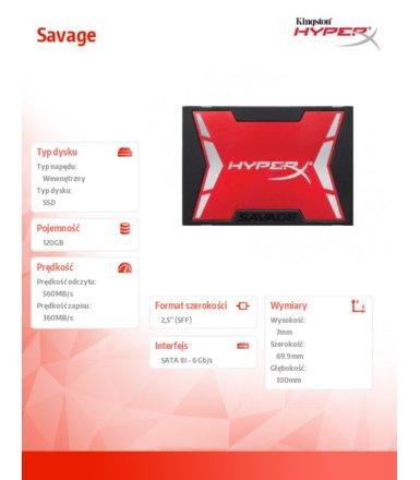 """Dysk 2,5"""" SSD HyperX SAVAGE 120GB (560/360MB/s) za 199zł z darmową dostawą @ Zadowolenie"""