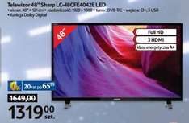 """Telewizor 48"""" LED Full HD Sharp za 1319zł @ Tesco"""