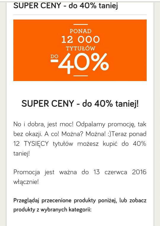Ponad 12 tys tytułów do 40% taniej na taniaksiazka.pl