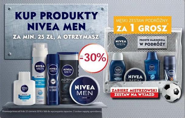 Męski zestaw podróżny za 1 GROSZ przy zakupie produktów Nivea za min.25zł @ Natura