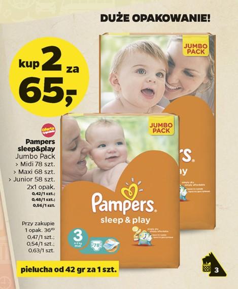 Pieluszki Pampers Sleep&Play Jumbo Pack- 2 opakowania za 65zł @ Netto