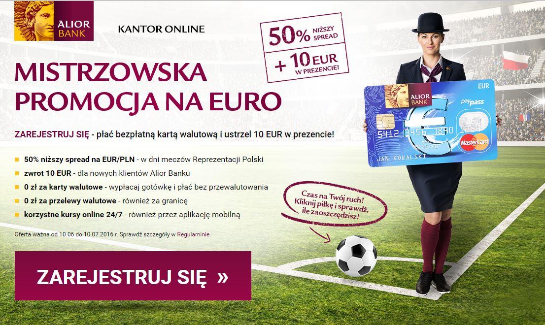 10€ zwrotu dla nowych klientów, oraz 50% rabatu na spread w dni meczowe naszej drużyny @ Kantor Alior