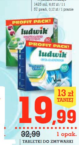 Tabletki do zmywarki Ludwik 50szt./60szt. za 19,99zł @ Intermarche