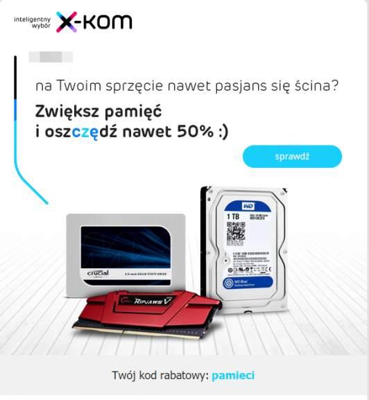 [X-Kom] Zniżka nawet do 50% na Dyski SSD ,pamięci RAM, pamięci