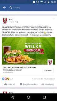 Zestaw Grander Texas w KFC za 10 PLN