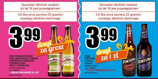 2 butelki piwa z grodziska (0,4l, różne smaki) za 4zł lub 2x Fortuna za 4,99zł + inne promocje @ Piotr i Paweł