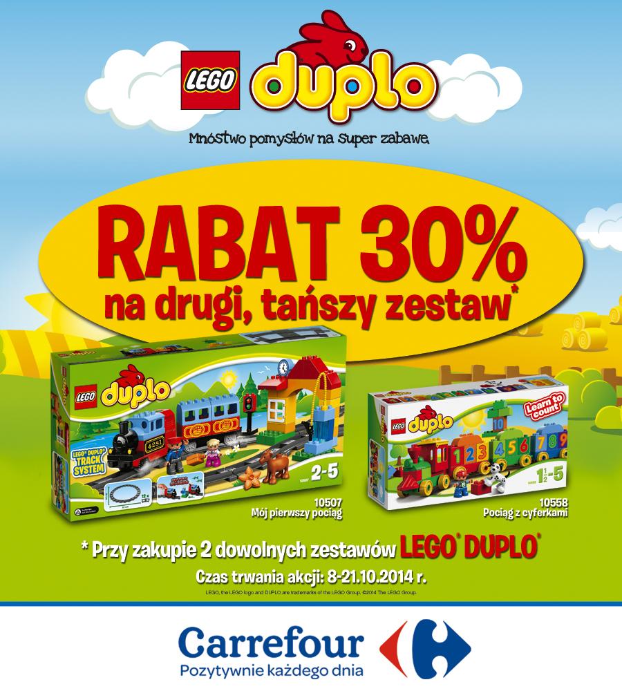 Rabat 30% na drugi, tańszy zestaw klocków LEGO DUPLO w wybranych sklepach Carrefour
