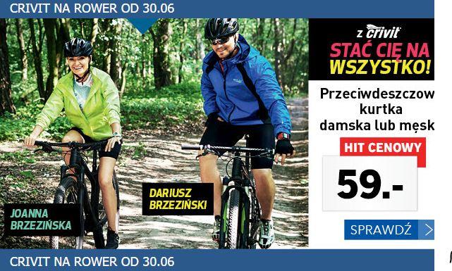 Odzież i akcesoria rowerowe Crivit od 30 czerwca (kurtki przeciwdeszczowe, koszulki rowerowe i inne) @ Lidl