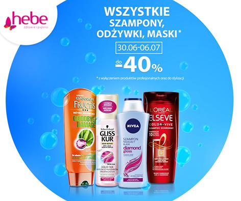 -40% na wszystkie szampony, odżywki i maski w Hebe od 30.06 do 6.07 (lub do wyczerpania zapasów)