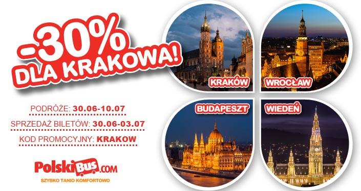 -30% na przejazdy Kraków – Budapeszt ,Kraków – Brno – Wiedeń, Kraków – Wrocław  na podróże od 30.06-10.07 (sprzedaż od 30.06-3.07) Polskibus.com