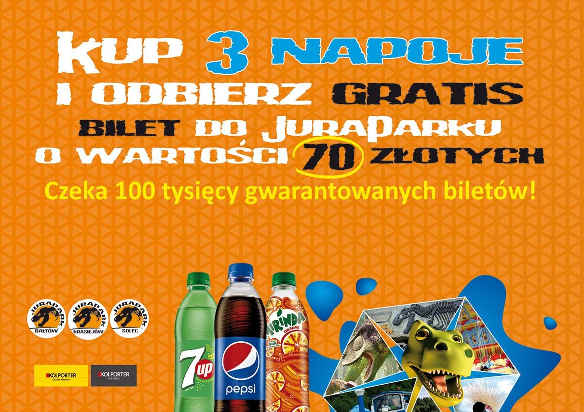 Bilet do JuraParku (wartość 70zł) za zakup 3 dowolnych napojów od PepsiCo @ Park Nauki i Rozrywki/Kolporter