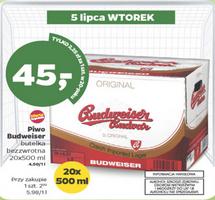 Budweiser 20x500ml za 45zł tylko 5.07. @ Netto
