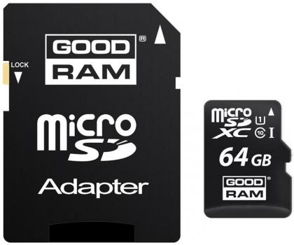 Karta pamięci microSDXC Goodram 64GB (Class 10 zapis 10MB/s, odczyt 60MB/s) za 44zł @ X-kom
