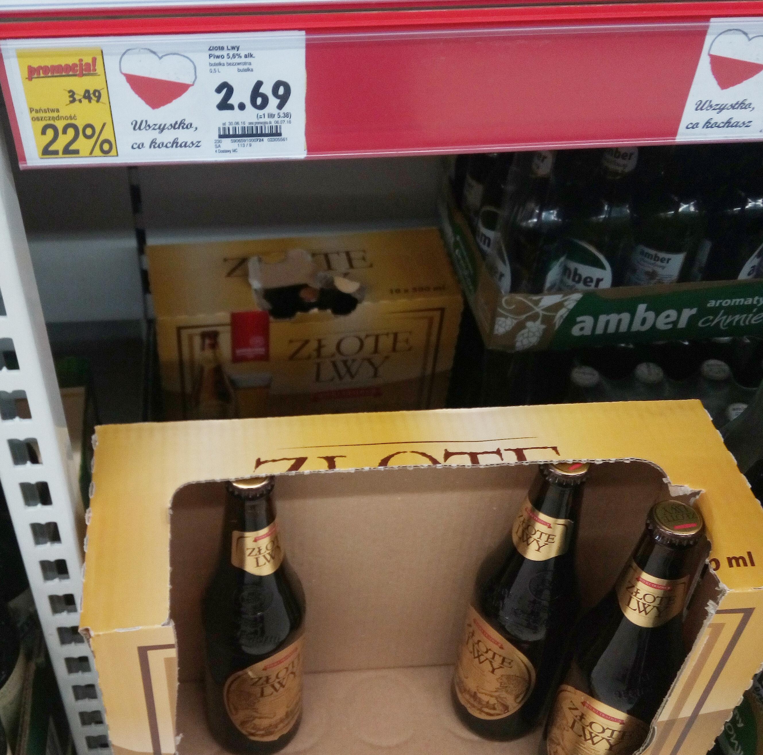 Piwo Amber Złote Lwy w Kaufland
