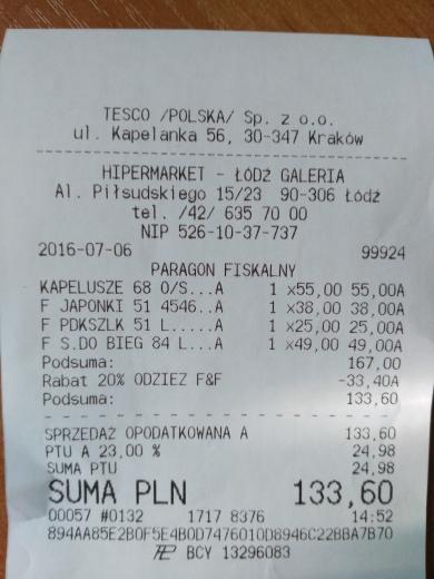 -20% na odzież F&F w Tesco