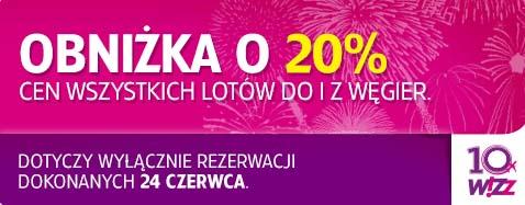 Loty do i z Węgier 20% taniej @ Wizz Air