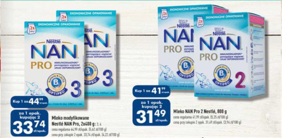 Mleko Nestle NAN 800g za 31,49zł (przy zakupie 2 sztuk) @ Biedronka