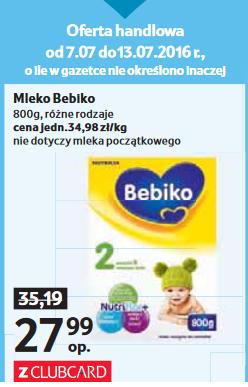 Mleko Bebiko 800g za 27,99zł (ClubCard) @ Tesco
