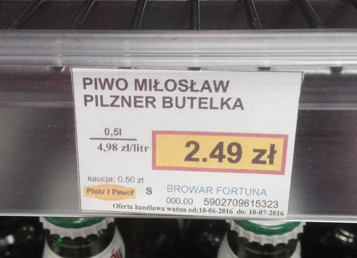 Piwo Fortuna oraz Miłosław 2,49 zł @ Piotr i Paweł