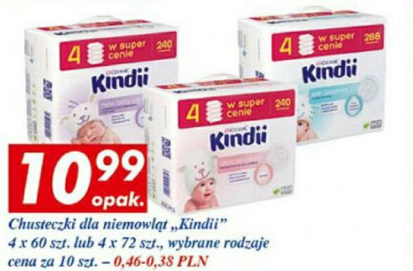 4-pak chusteczek nawilżanych Kindii za 10,99zł @ Auchan