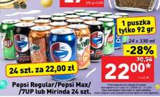 24 puszki 0,33l Pepsi/Mirinda/7Up za 22zł - 92gr./szt. @ Lidl
