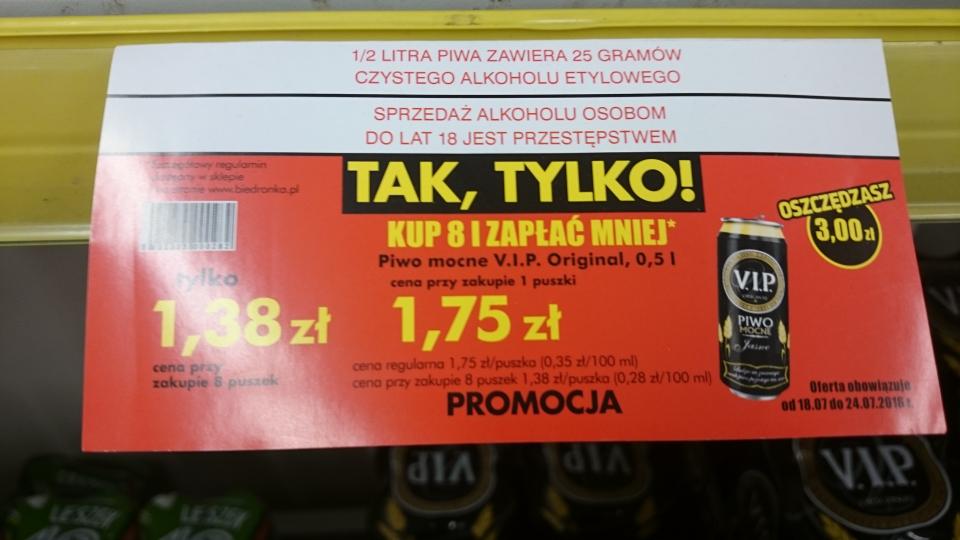 VIP mocny Biedronka 7,2% za 1,38zl przy zakupie 8