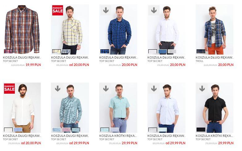 Męskie koszule od 20zł do 40zł @ Top Secret