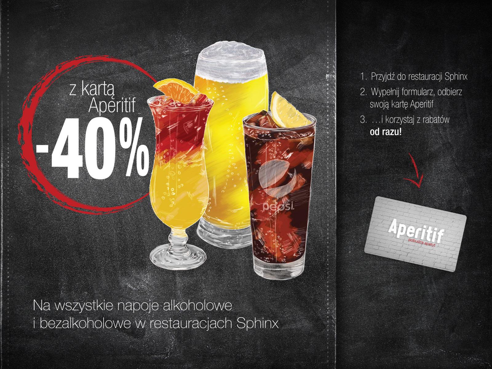Rabat -40% na wszystkie napoje  @ Sphinx