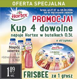 Frisbee za 1 grosz przy zakupie 4 napojów Hortex @ Carrefour