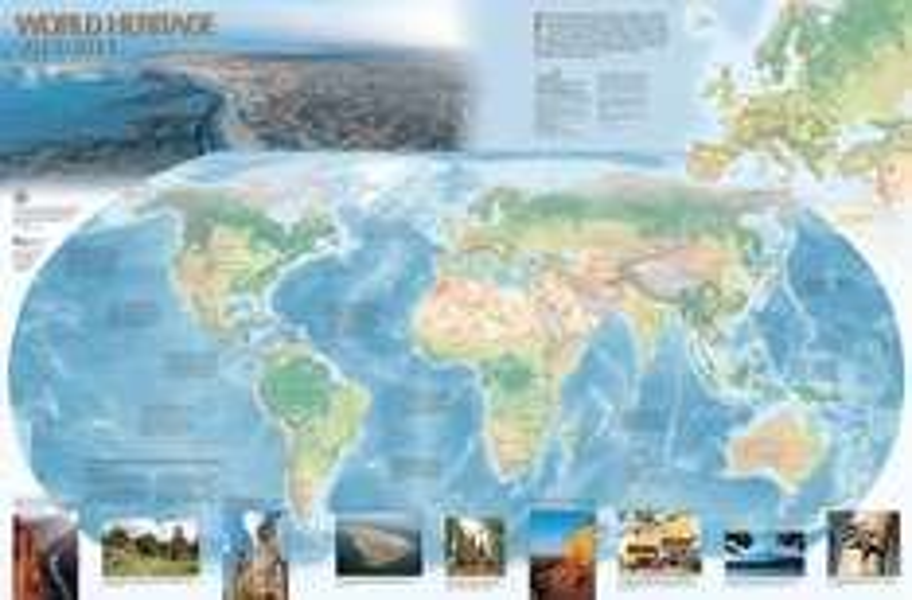 Mapa świata z obiektami Unesco 78x50cm za 10zł
